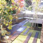 枕木と大谷石のお庭完成